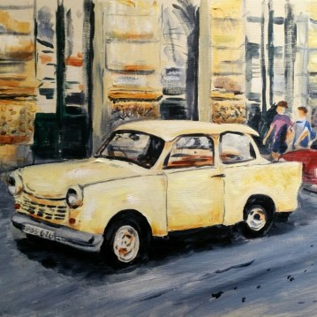Painting of an old car in Budapest by Sarah Seymour