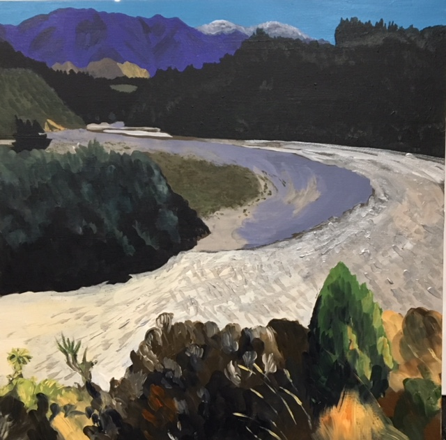 We spent several hours on a blistering summer's day travelling to Mount Hutt by motorbike. When we arrived the river was a dazzling silver. I couldn't wait to buy some silver paint and re-create that at home. I also loved the distant snowy mountains that seemed such a contrast when the temperature here was in the high twenties.