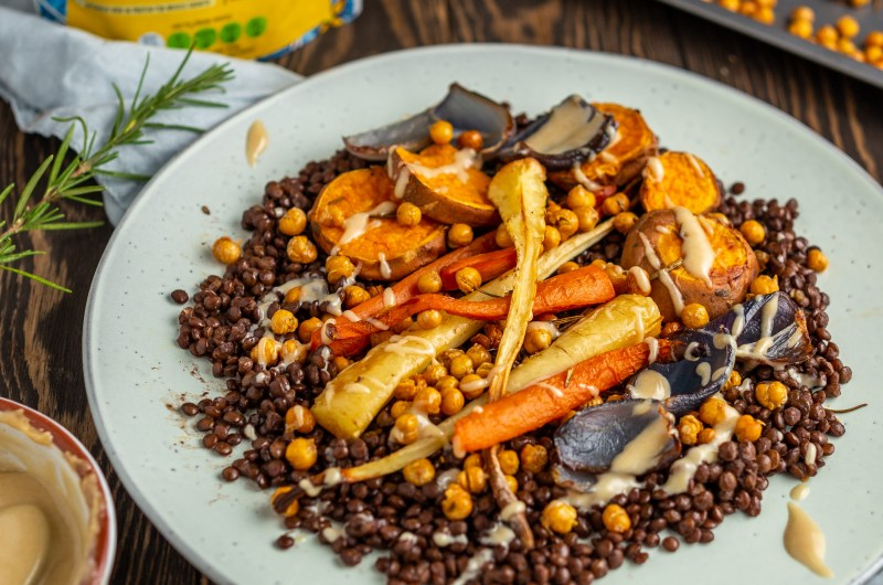 Roasted winter vegetables with Puglia lentils & crispy chickpeas