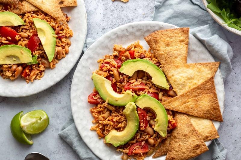 Mixed bean, avocado and rice salad with homemade tortilla chips