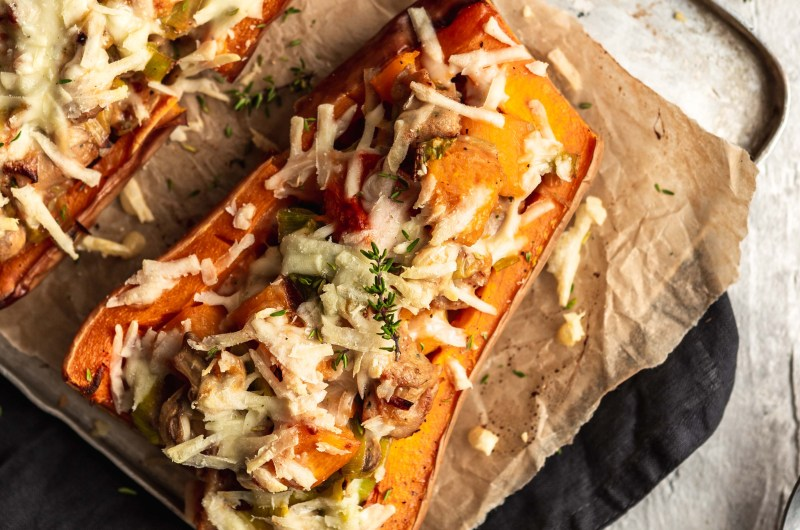 Cheesy stuffed butternut squash, with chicken sausage and mushrooms