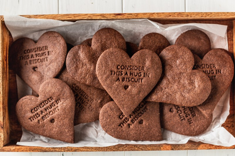 Chocolate & Peanut Butter Heart Biscuits