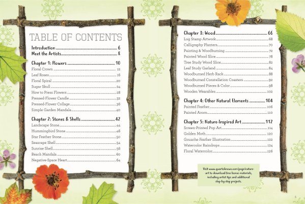 Table of Contents of Nature Art Workbook