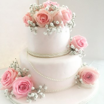 Tow Tear Blush Wedding Cake Pearls Roses Three Tier Naked Wedding Cake Roses Lace Sarah's Cake Shop Looe