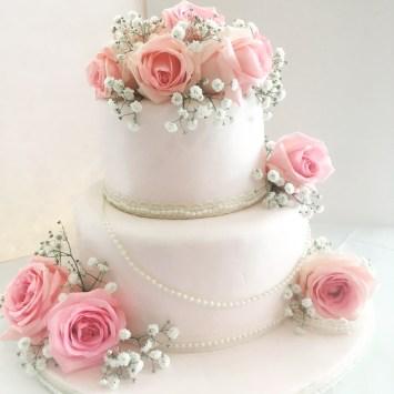 Tow Tear Blush Wedding Cake Pearls Roses Three Tier Naked Wedding Cake Roses Lace Sarah's Cake Shop Looe