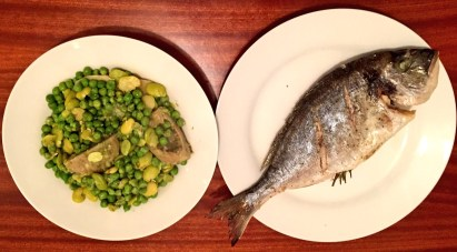 Sea Bream with peas, broad beans and artichoke hearts