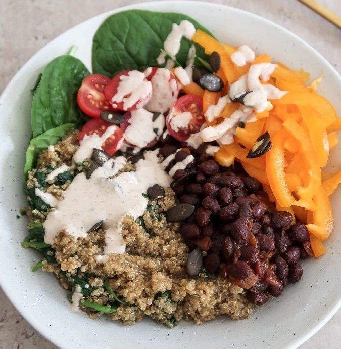 Quinoa and Black Bean Buddha Bowl (Iron-Rich)
