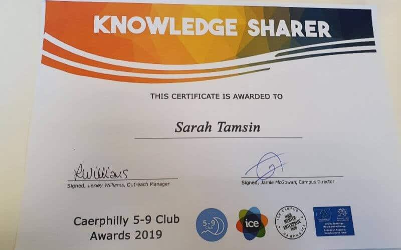 Knowledge Sharer - Sarah Tamin 5-9 Club