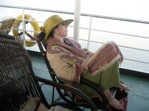 Resting on the 12 hour boat trip to Bagan