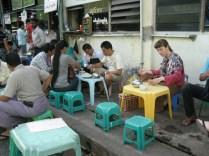 Drinking tea at Bodyoke Aung San Market, Yangon