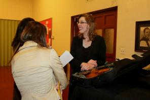 Sarah, chatting with guests after the concert