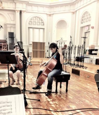 Cellist Minghui Lin tunes up...