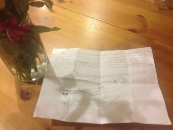 Flowers and really touching note from Katie.
