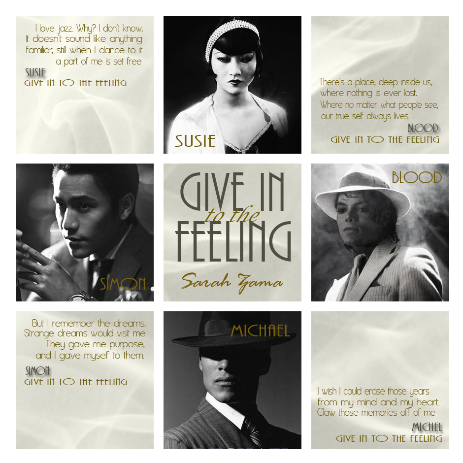 Give in to the Feeling by Sarah Zama - Chicago 1924. Susie has never thought she might want something different from the lush, carefree life Simon has offered her, but when Blood walks into Simon's speakeasy, he brings a completely new world to her. And a fight that breaks through the walls of life into the spirit world.