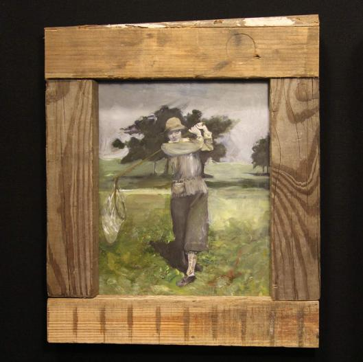 woman golfer swinging butterfly net - Sarah Zar oil paintings - The Withing in the Woods Series