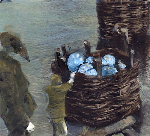 Surreal oil paintings of Lilliputian soldier stealing eggs from a giant birdsnest, by Sarah Zar.