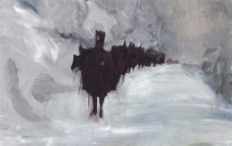 Leaving The Forest abstract winter painting by Sarah Zar