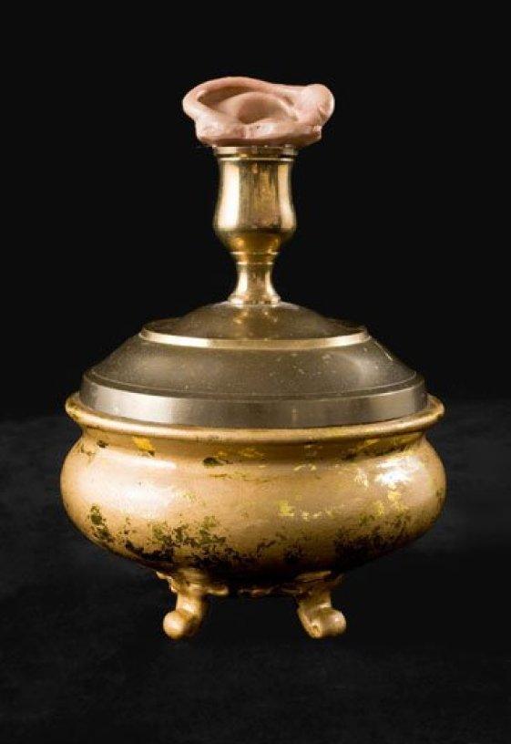 An Altarpiece for Musicians and good listeners. Ear Sculpture on a gold base by Sarah Zar