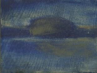 Blue Island of birds Sarah Zar minimalism oil paintings