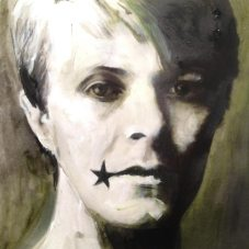 painting of David Bowie, black start