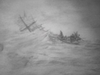 drawing of a rescue boat at sea