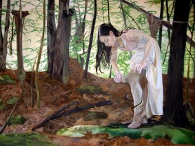 Sarah Zar yellow oil paintings with laundry and snakes in the forest