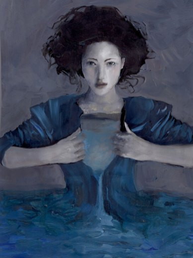 Hurricane Woman opening chest blue Sarah Zar oil portrait water paintings