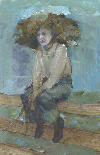 portrait of a farmer with curly hair, sitting on a fence