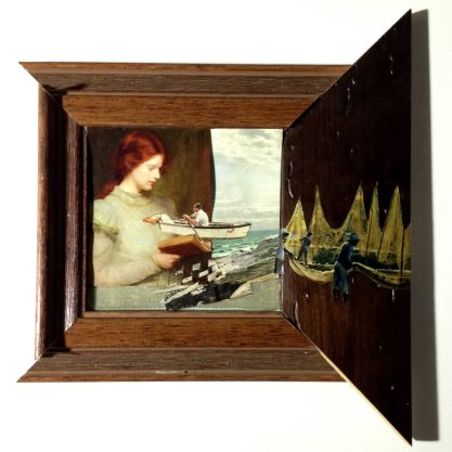 Lure lady with ships - collage by Sarah Zar