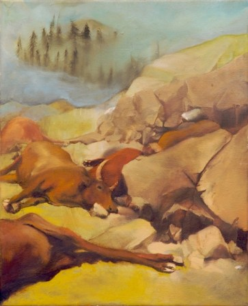 bulls cattle laying down in a rocky pastel landscape, by Sarah Zar