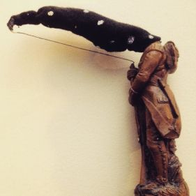 """Moonlight Hunter, sculpted for the book """"Riddled With Spots""""."""