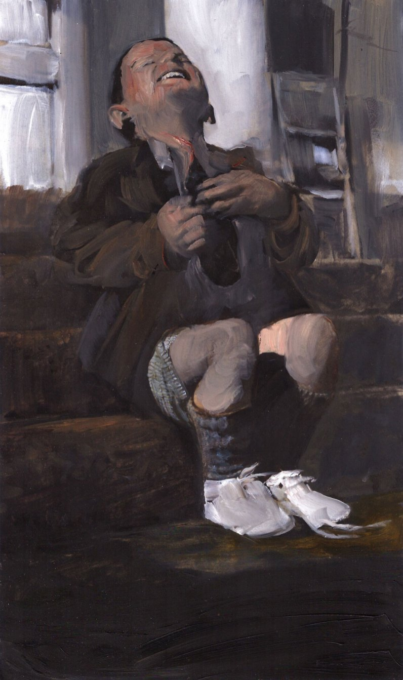 brown vintage painting of a laughing boy with a hollow chest, by Sarah Zar