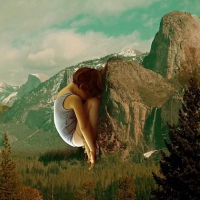Rock Facing Sarah Zar collage - young ballerina in yoga Buddah pose on mountain