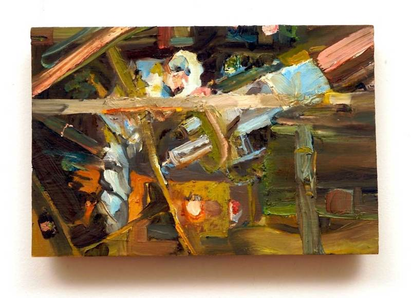 Abstract portrait, an oil painting of science professor John Delano looking through a telescope at the observatory at SUNY Albany, by Sarah Zar