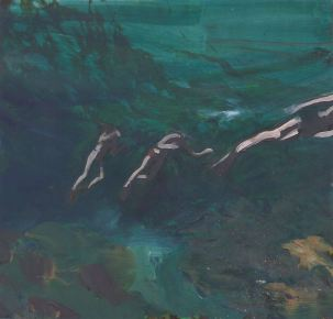 painting of swimmers in teal ocean water