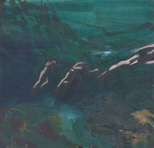 painting of swimmers in teal ocean water