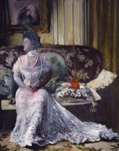 Intricate Victorian oracle painting of a woman in a white lace dress with a house fire, by Sarah Zar