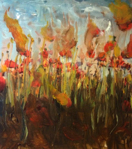 Burning Poppy Field oil painting
