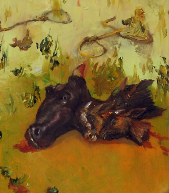 detail of bull heads from a Sarah Zar oil painting