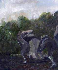 A half lit landscape painting of gleaners (or train robbers) running through the fields with their loot, trying to escape.