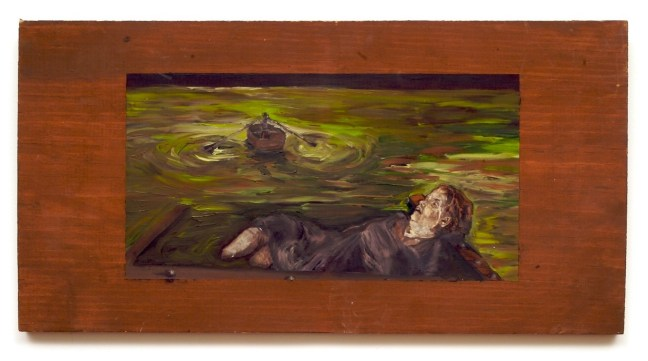 old woman adrift in boat on green water