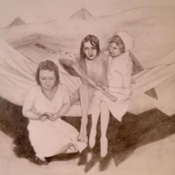 drawing of a sphinx and nurses on a hammock