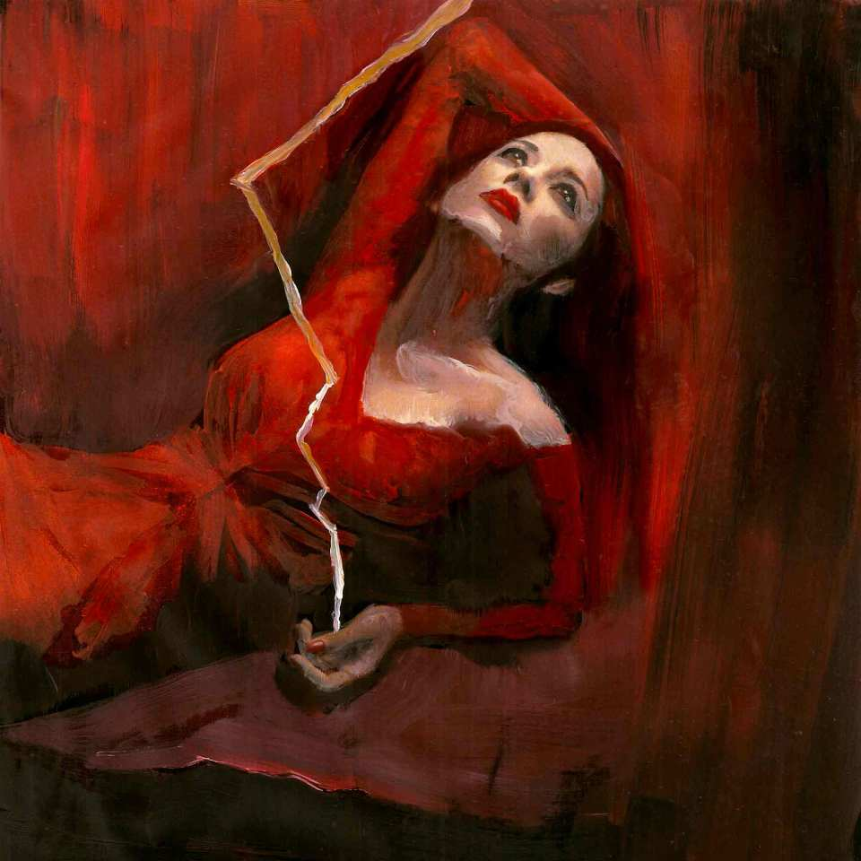 Lady In Red With Lightning, oil painting, art by Sarah Zar