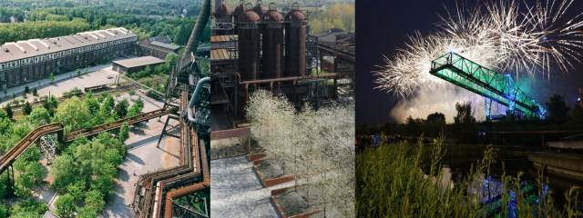 A collage of projects from Latz+Partners at Duisburg Nord. The first is an aerial view of the park in spring/summer. The middle is an aerial in winter, the third is a view from the ground at infrastructure, lit with technicolor lights, backlit by fantastical bursts of silver fireworks.