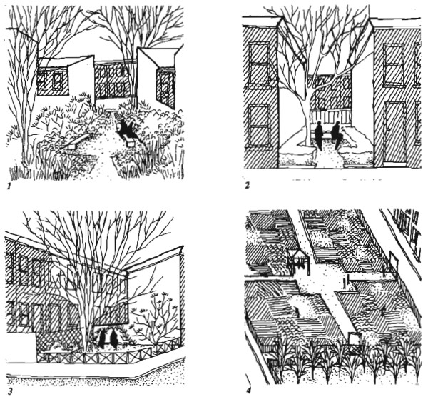 Four sketches from Spirn. They are done with fine black ink; depicting scenes of courtyards from different view-points. Some are looking straight into the space, others are aerial. The drawings are simple and very evocative.
