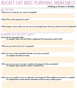 Bucket List Planning Worksheet
