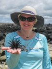 Sara Kurth and some unknown sea creature in the Galapagos