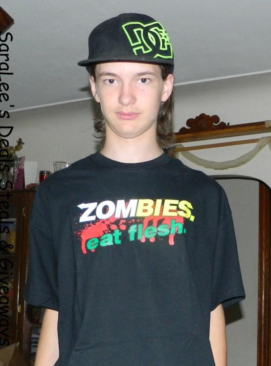 """Zombies: Eat Flesh"" tee from BrainEatingTees.com"