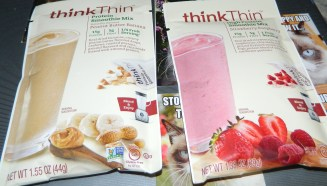 Think Thin High Protein Smoothie Mix, Strawberry Raspberry & Peanut Butter Banana Mix