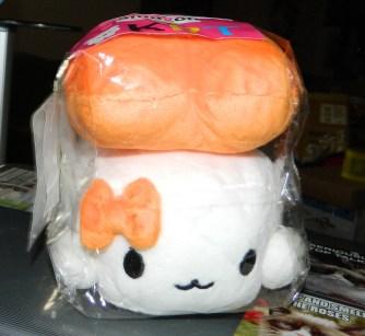 """Sushi Cushion Plush Toy Pillow (Shrimp 6"""") & Mini Sushi Brothers Figures (Bonus)"""